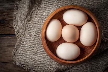 Raw organic farm eggs.