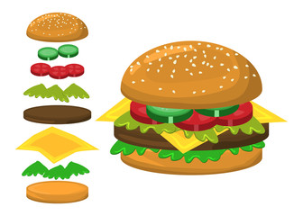 hamburger parts vector symbol icon design.