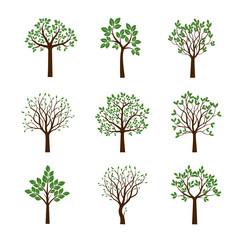 Collection of Spring Trees. Vector Illustration.