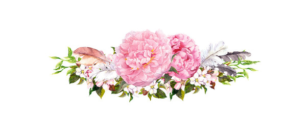 Pink peony flowers, roses, feathers. Watercolor in vintage style