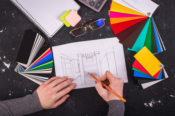 Examples of colors. Repair concept. Drawing a sketch