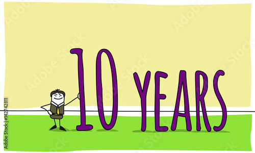 10 years celebration of a business anniversary stock image and