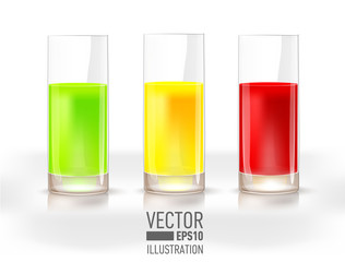 Set of three glasses with fresh lemon, apple and berry juice isolated on light background.