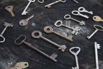 Scattered collection of old keys on a wooden surface