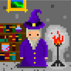 Pixel wizard and magic books
