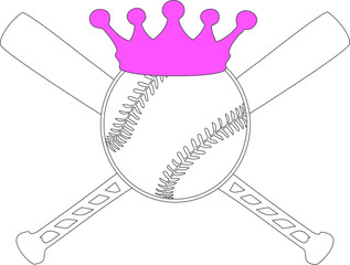 Baseball/Softball with Crown and Bats