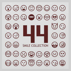 Outline smiles collection. 44 emoji.