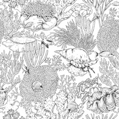Coral Reef and Swimming Fishes Pattern
