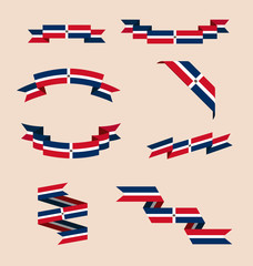 Vector set of scrolled isolated ribbons or banners in colors and with symbol of flag of Dominican Republic.