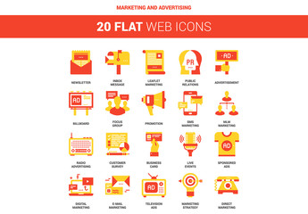 20 Red and Yellow Marketing Icons 1