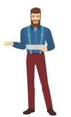 Hipster holding digital tablet PC gesturing