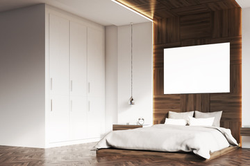 Bedroom with picture, wood, side