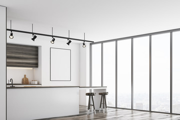 White kitchen with bar and poster, dark, corner