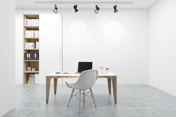 Workplace, white chair, computer