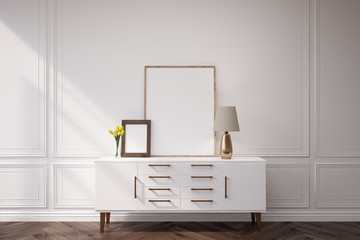 White cabinet with a lamp