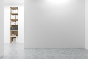 Empty room with a bookcase
