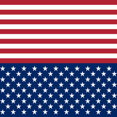 USA flag star vector seamless pattern background. White and red stripes and stars on dark blue background.