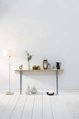 modern decorative style with wooden desk and white parquet