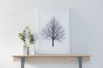 decorative desk and tree picture concept