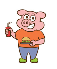 Pig with a Plate of Burger and Soft drink Cartoon Illustration