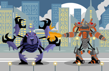 giant flamethrower robot fighting a giant beetle in the city
