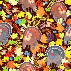 seamless pattern with cute turkeys and autumn leaves