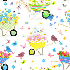 seamless texture with funny wheelbarrows full of flowers for you