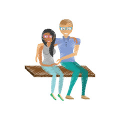 drawing fun couple sitting romantic vector illustration eps 10