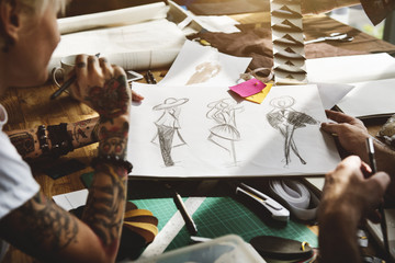 Fashion Clothing Design Drawing concept