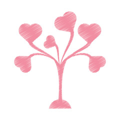 drawing pink tree leaves shape hearts lovely vector illustration eps 10