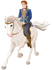 Poster de jardin Magie Prince Charming riding a horse