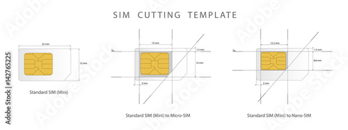 Sim Card Cutting Template Standard Micro And Nano Vector Ilration