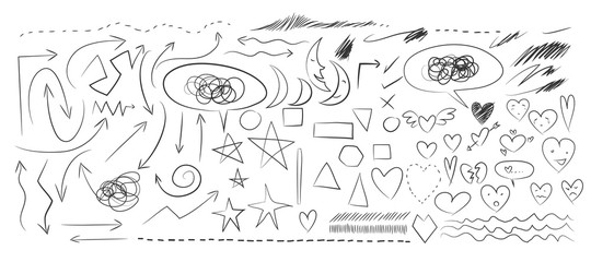 Heart, arrow, moon Hand drawn elements vector set illustration