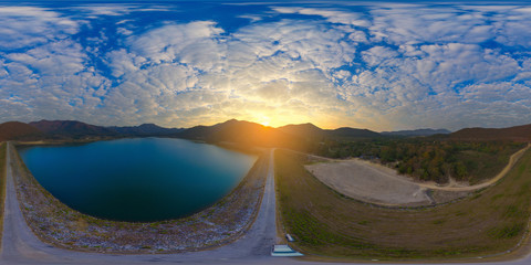 Aerial Panorama of Huai Lan Reservoir, San Kamphaeng Thailand (Full VR 360 Degree Seamless Spherical)