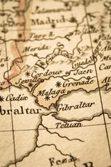 アンティークの古地図 ジブラルタル海峡