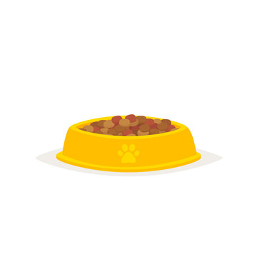 Dog food in a bowl vector