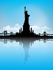 Blue Sky New York City skyline with Statue of liberty Vector