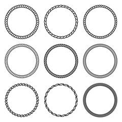 Vector set of round rope frame. Collection of thick and thin circles isolated on the white background.