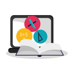laptop computer with book and math related icons over white background. colorful design. vector illustration