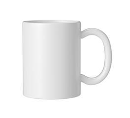 white ceramic mug on white background, 3D Rendering