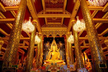 Phra Phuttha Chinnarat Buddha Image at Wat Phra Si Rattana Mahathat Templein Phitsanulok,  Thailand