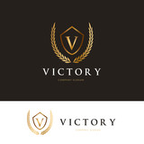 Luxury logo design template Crest design for hotel logo real