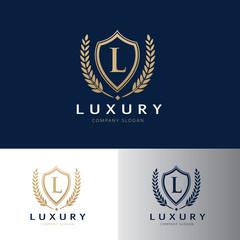 Luxury logo design template, Crest design for hotel logo , real estate logo, security logo, premium brand identity.