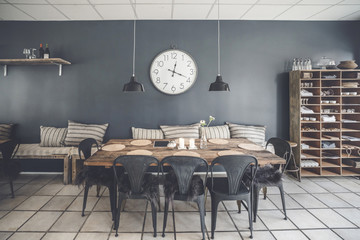 Dinner table in a retro living room