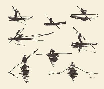 Set illustrations man boat hand drawn vector