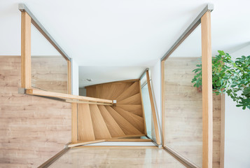 Wooden stairway from above