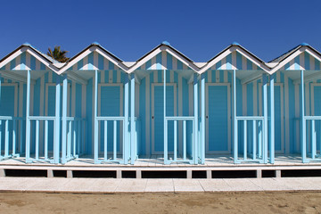 Beach huts blue on Forte dei Marmi