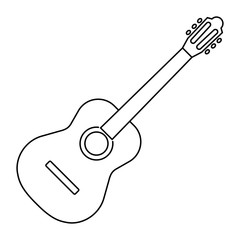 Icon of acoustic guitar icon black contour on white background of vector illustration
