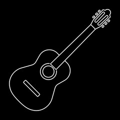 Icon of acoustic guitar icon white contour on black background of vector illustration