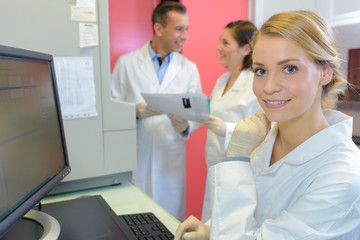 Medical worker using computer